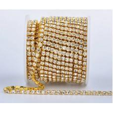 Стразовая лента Crystal (золотая база)