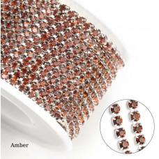 Стразовая лента Amber (серебристая база)