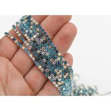 Стразовая лента Aqua/Blue Zircon/Crystal AB