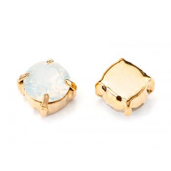 Шатон с кристаллом Swarovski Gold White Opal в оправе