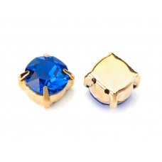 Шатон с кристаллом Swarovski Gold Capri Blue в оправе