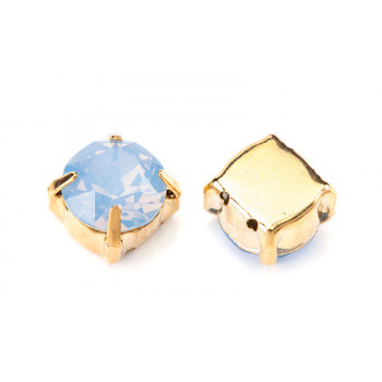 Шатон с кристаллом Swarovski Gold Air Blue Opal в оправе