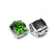 Шатон с кристаллом Swarovski Fern Green в родиевой оправе