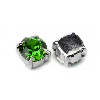 Шатон с кристаллом Swarovski Fern Green в оправе