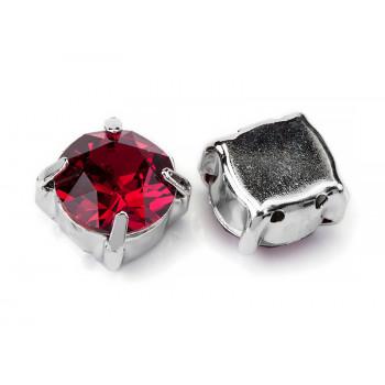 Шатон с кристаллом Swarovski Ruby в родиевой оправе