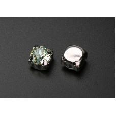 Шатон с кристаллом Swarovski Chrysolite в родиевой оправе