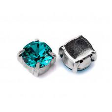 Шатон с кристаллом Swarovski Blue Zircon в оправе