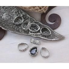 Фигурная оправа для капли Серебро