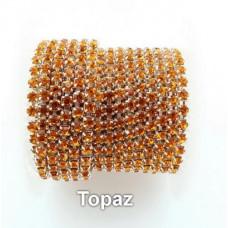 Стразовая лента Topaz (серебристая база)