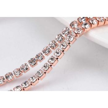 Стразовая лента Crystal (база: розовое золото)