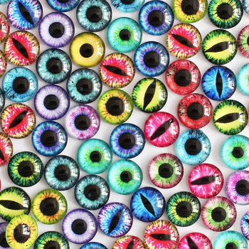 """Кабошоны """"Глазки"""" (2 разные пары) 8 мм."""