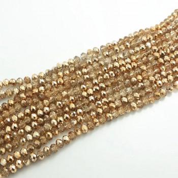 Бусины граненые Rondelle 4х3 мм Золотой беж, 1 нить