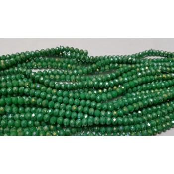 Бусины граненые Rondelle 4х3 мм Зеленые AB, непрозрачные, 1 нить