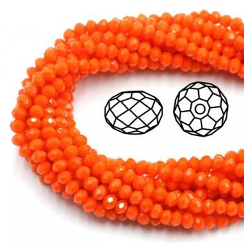 Бусины граненые Rondelle 4х3 мм Оранжевые, непрозрачные, 1 нить