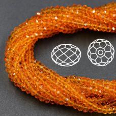 Бусины граненые Rondelle 4х3 мм Оранжевые прозрачные, 1 нить