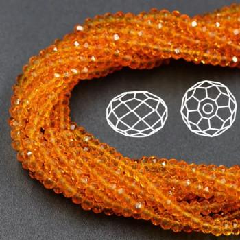 Бусины граненые Rondelle 4х3 мм Оранжевые, прозрачные, 1 нить