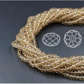 Бусины граненые Rondelle 4х3 мм Золотая тень, прозрачные, 1 нить