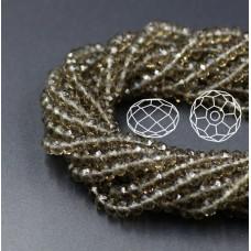 Бусины граненые Rondelle 4х3 мм Серые прозрачные, 1 нить