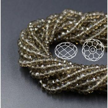 Бусины граненые Rondelle 4х3 мм Серые, прозрачные, 1 нить