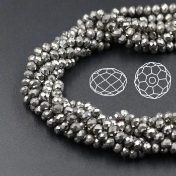 Бусины граненые Rondelle 4х3 мм Серебро, непрозрачные, 1 нить