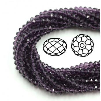 Бусины граненые Rondelle 4х3 мм Фиолетовые, прозрачные, 1 нить
