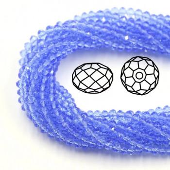 Бусины граненые Rondelle 4х3 мм Light Sapphire, прозрачные, 1 нить
