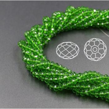Бусины граненые Rondelle 4х3 мм Зеленые, прозрачные, 1 нить