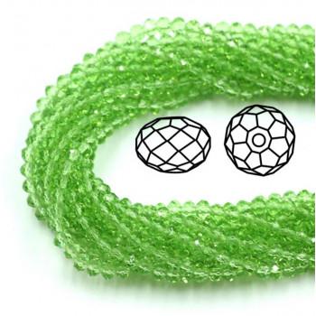 Бусины граненые Rondelle 4х3 мм Светло-зеленые, прозрачные, 1 нить