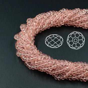 Бусины граненые Rondelle 4х3 мм Светло-розовые, прозачные, 1 нить