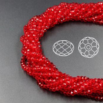 Бусины граненые Rondelle 4х3 мм Красные, прозрачные, 1 нить