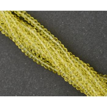 Бусины граненые Rondelle 4х3 мм Светло-желтые, прозрачные, 1 нить