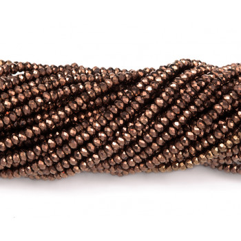 Бусины граненые Rondelle 4х3 мм Бронзовые, непрозрачные, 1 нить