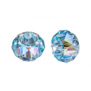 5042 Бусина Briolette XL Hole Bead Aquamarine Shimmer 2X