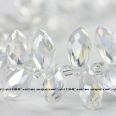 Бусины Briolette Crystal AB 6х12 мм, 40 штук