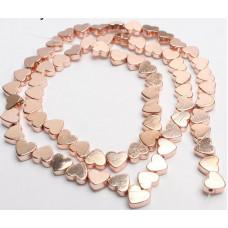 Бусины Сердечки (розовое золото) 5х6 мм.