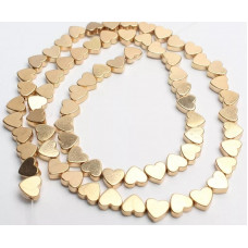 Бусины Сердечки (золото) 5х6 мм.