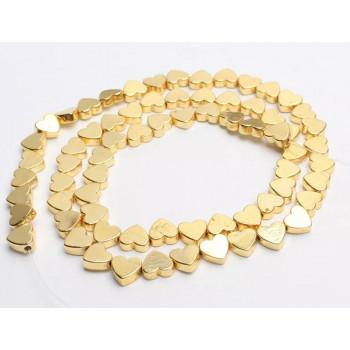 Бусины Сердечки (яркое золото) 5х6 мм.