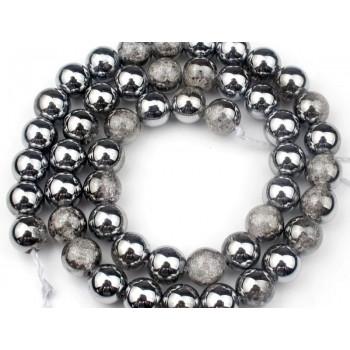 Бусины серебро/белый кварц