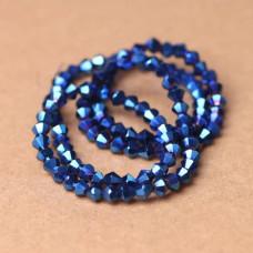 Биконусы 4 мм Металлик синий, 1 нить