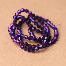 Биконусы 4 мм Металлик фиолетовый, 1 нить