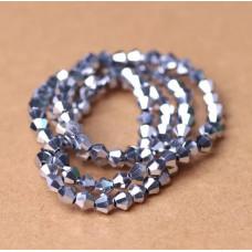Биконусы 4 мм Металлик серебряный, 1 нить