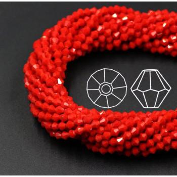 Биконусы 4 мм Красные, непрозрачные, 1 нить