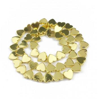 Бусины Сердечки (жёлтое золото) 5х6 мм, 5 штук