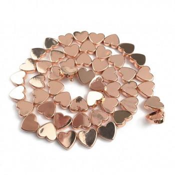 Бусины Сердечки (розовое золото) 5х6 мм, 5 штук