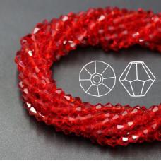 Биконусы 4 мм Красные, прозрачные, 1 нить