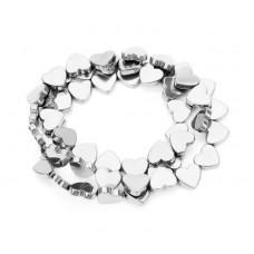 Бусины Сердечки (серебро) 5х6 мм, 5 штук