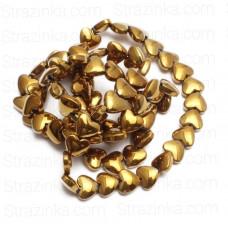 Бусины-сердечки Dark Gold, 5х6 мм, 5 штук
