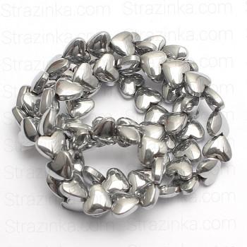 Бусины-сердечки Silver, 5х6 мм, 5 штук