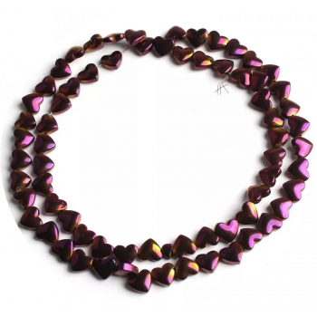 Бусины-сердечки Purple, 5х6 мм, 5 штук