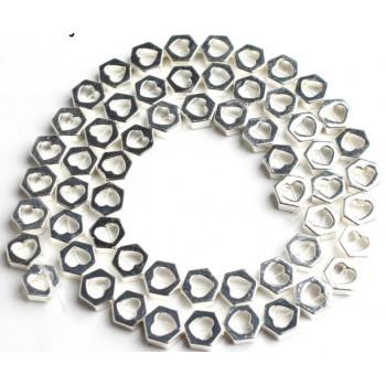 Бусины Love (серебро) 7х6 мм, 5 штук